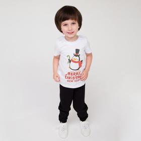Футболка детская, цвет белый/пингвин, рост 98-104 см