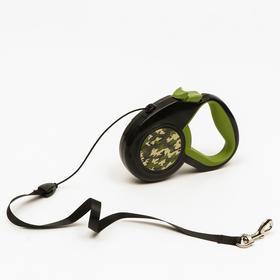 """Рулетка """"Пижон"""" с прорезиненной ручкой, 5 м, до 25 кг, трос, чёрно-зелёная"""