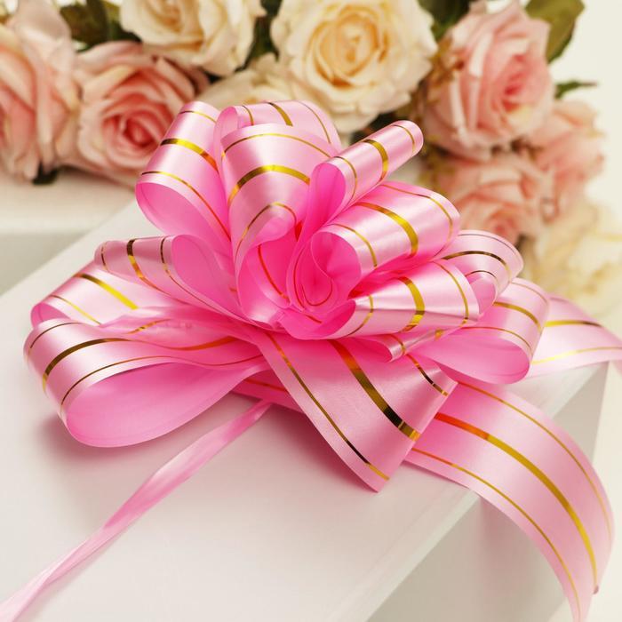 """Бант-шар №5 """"Золотые полосы"""", цвет розовый"""