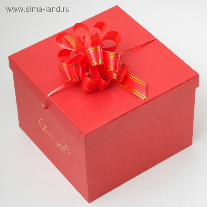 """Бант-шар №3 """"Золотые полосы"""", цвет красный"""