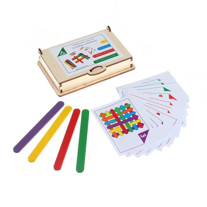 Игровой набор «Сложи палочки» 8 карточек,12 цветных деревянных палочек