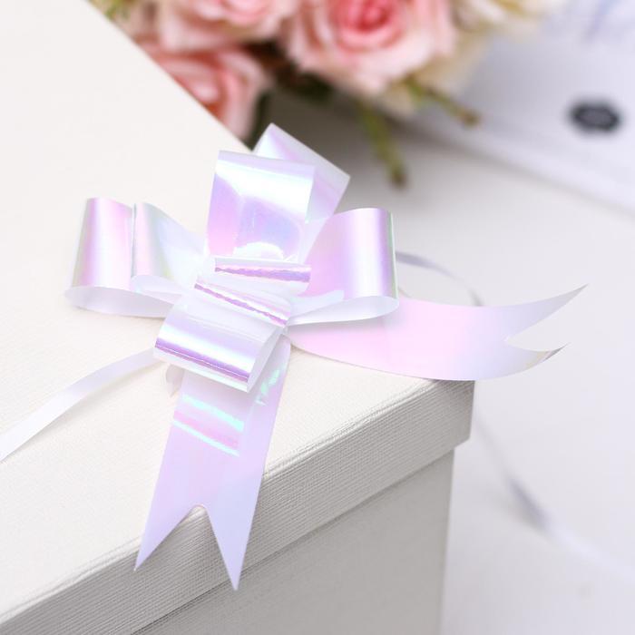 Бант-бабочка №3, цвет перламутр белый