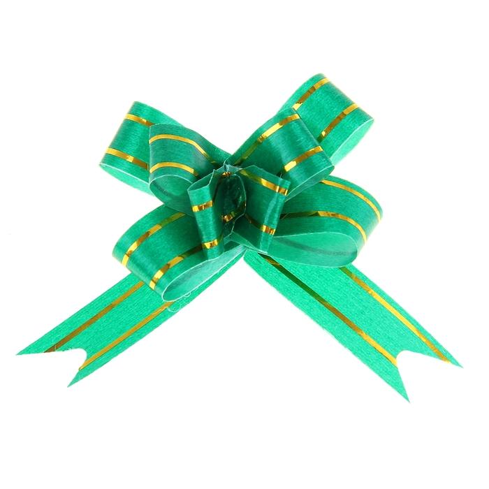 """Бант-бабочка №1,2 """"Золотые полосы"""", цвет зелёный"""