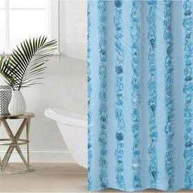 Штора для ванной комнаты «Ракушки», 180×180 см, полиэтилен, цвет голубой
