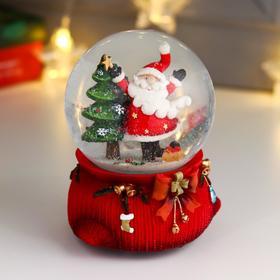 "Сувенир полистоун водяной шар музыка ""Дед Мороз танцует у ёлочки"" d=10 см"