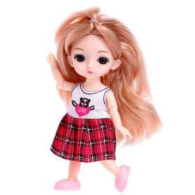 Кукла шарнирная «Мила» в платье, МИКС