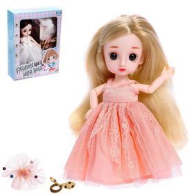 Кукла шарнирная «Эвелина» в платье, МИКС