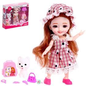 Кукла шарнирная «Мира» с питомцем и аксессуарами
