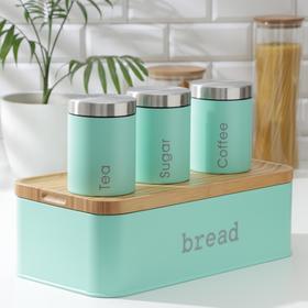 Набор банок для сыпучих продуктов Prime, 3 шт, с ложками, с хлебницей, цвет бирюзовый