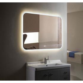 Зеркало с LED подсветкой «Ева» 915х685 мм, подогрев, часы, сенсорный выключатель