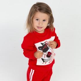 Комплект детский (лонгслив, брюки) цвет красный, рост 104 см