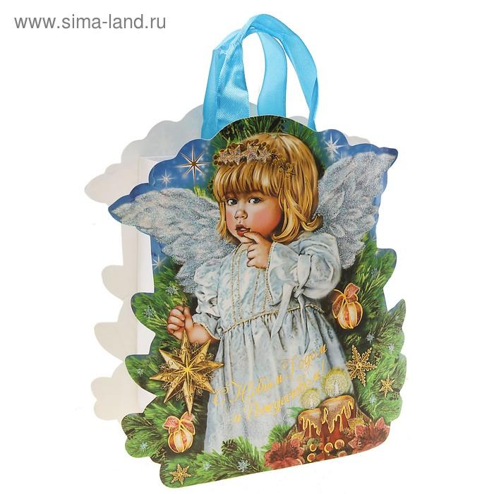 Пакет-открытка новогодний ангелочек тиснение с блестками