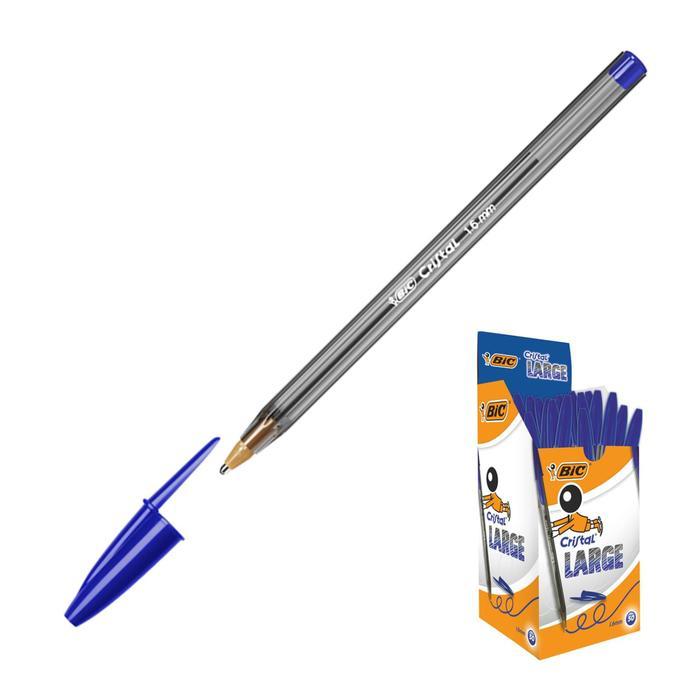 Ручка шариковая, чернила синие, 1.6 мм, широкое письмо, BIC Cristal Large