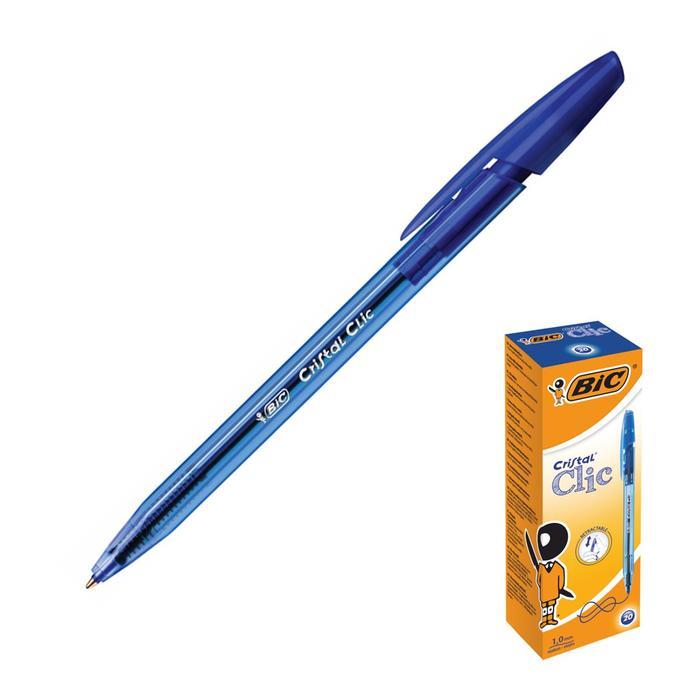 Ручка шариковая автоматическая, чернила синие, 1.0 мм, среднее письмо, BIC Cristal Clic