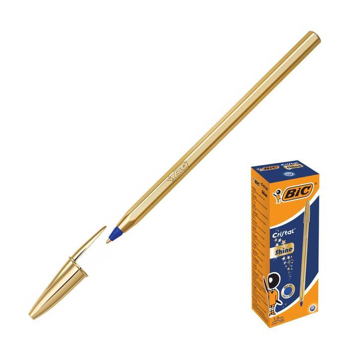 Ручка шариковая чернила синие, 1.0 мм, среднее письмо, золотой корпус, BIC Cristal Gold