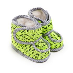 Пинетки детские меховые, цвет зелёный/штрих, размер 16,5