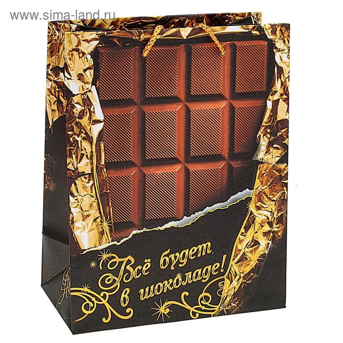 """Пакет ламинированный с тиснением """"Все будет в шоколаде"""""""