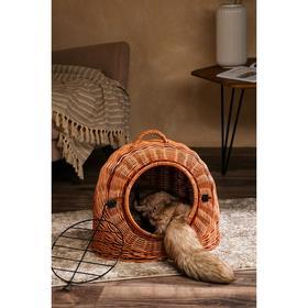 Домик-переноска для домашних животных, плетёный из лозы, 46х39х42 см