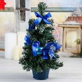 Ёлка декор 30 см синяя пуансетия в снегу
