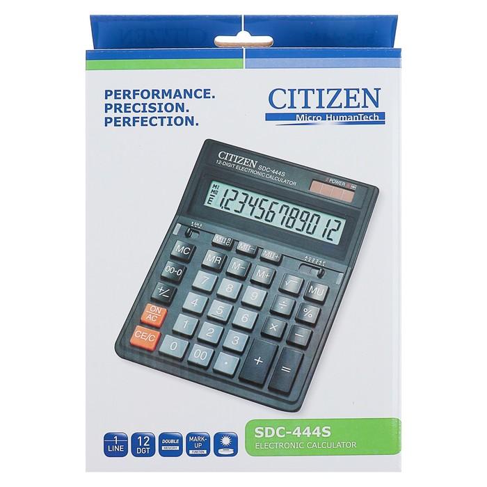 Калькулятор настольный 12-разрядный SDC-444S, 153*199*31мм, двойное питание, черный - фото 448833416