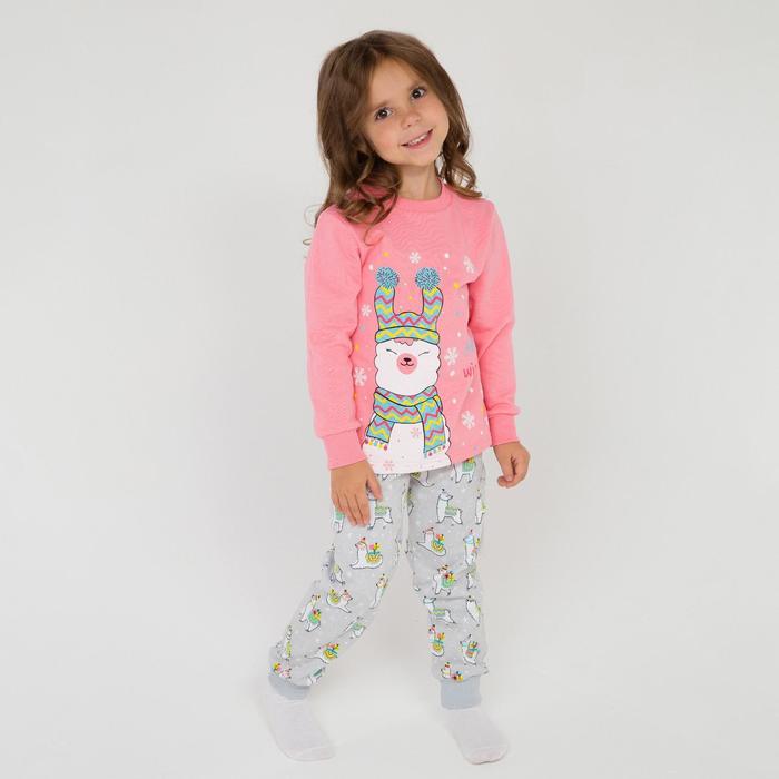 Пижама детская, цвет персик/серый, рост 116 см - фото 3465940
