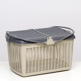 Переноска-корзина для кошек и собак, 47х36х27,5 см, серая