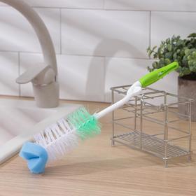 Ёрш для посуды с губкой, 30×5 см, изогнутая пластиковая ручка