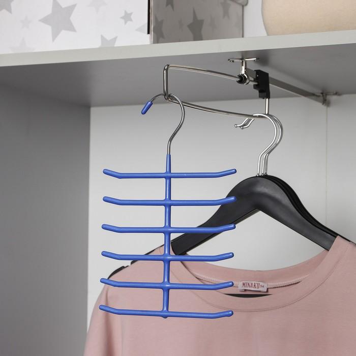Вешалка для галстуков, антискользящее покрытие, 6 перекладин, цвет МИКС