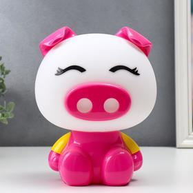 """Настольная лампа """"Свинка"""", 1х15Вт Е14,  цвет розовый 4854170"""