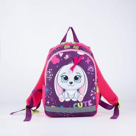 Рюкзак детский, 2 отдела на молнии, 2 боковых кармана, цвет фиолетовый, «Зайка»