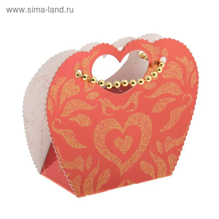 """Коробка сборная """"Сердце"""", цвет красный"""