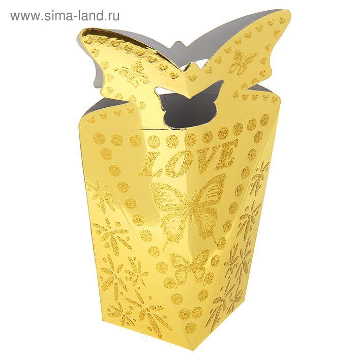 """Коробка сборная """"Полет бабочки"""", цвет золото"""