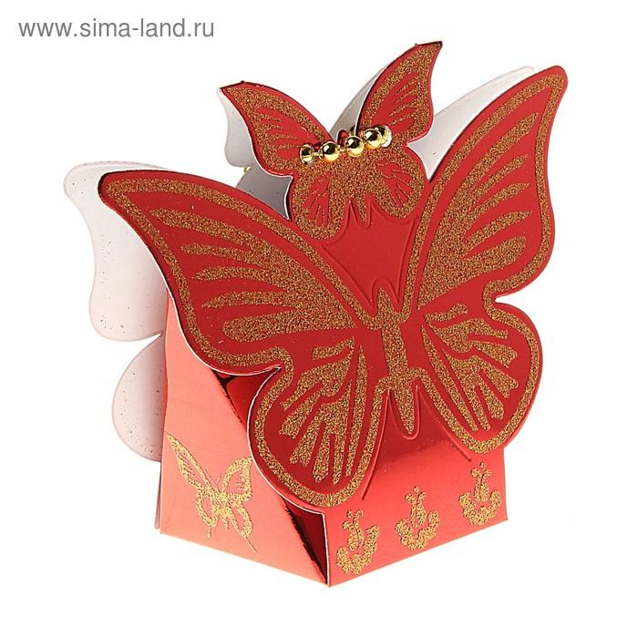 """Коробка сборная """"Взмах крыльев"""", цвет красный"""