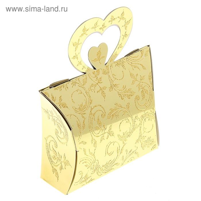 """Коробка сборная """"Двойное сердце"""", цвет золото"""