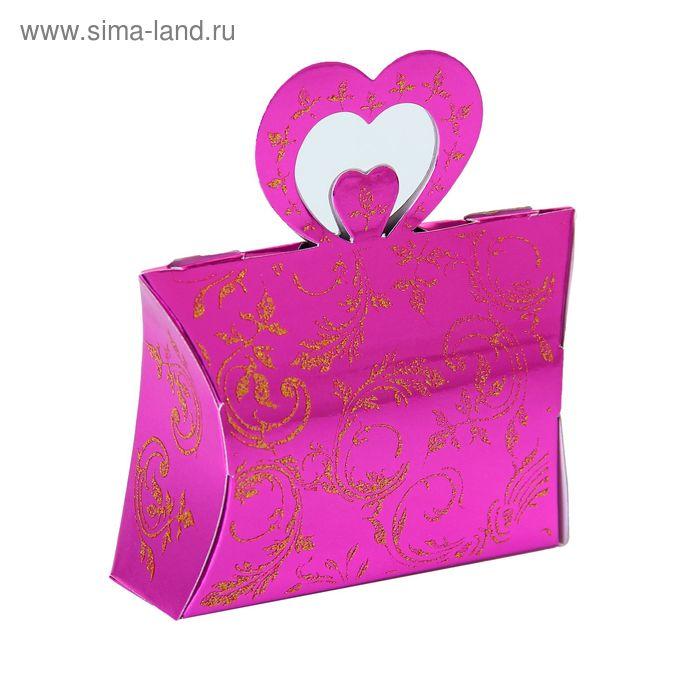 """Коробка сборная """"Двойное сердце"""", цвет малиновый"""