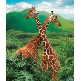 Алмазная вышивка с частичным заполнением «Жирафы» 50x60 см, на раме