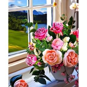 Алмазная вышивка с полным заполнением «Букет роз на окне» 50x60 см, на раме