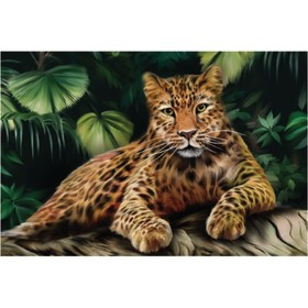 Алмазная вышивка с полным заполнением «Леопард» 50x60 см, на раме