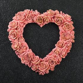 """Рамка """"Сердце из роз""""  14х14см  чайная роза"""