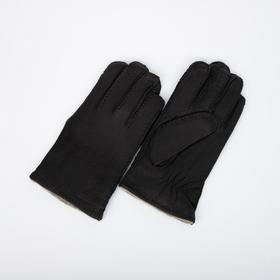Перчатки мужские, размер 10, подклад шерсть, цвет чёрный