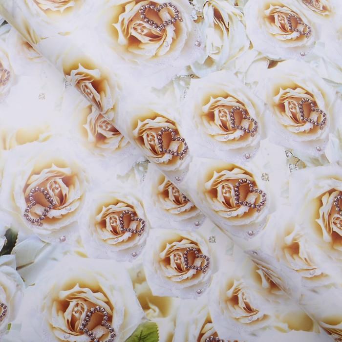 """Бумага упаковочная """"Белые розы с сердцем"""", 70 х 100 см"""