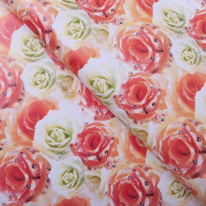 """Бумага упаковочная """"Белые и чайные розы"""", 70 х 100 см"""