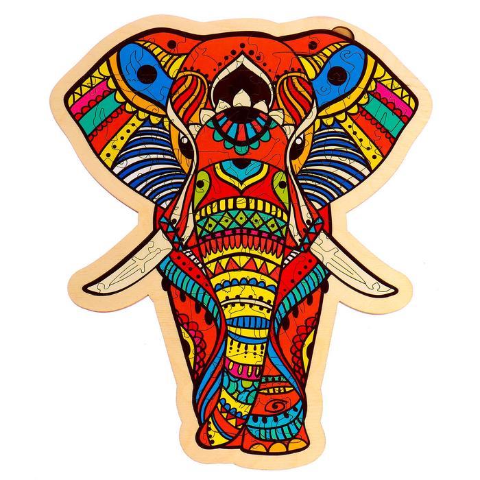 Фигурный пазл в рамке «Индийский слон»