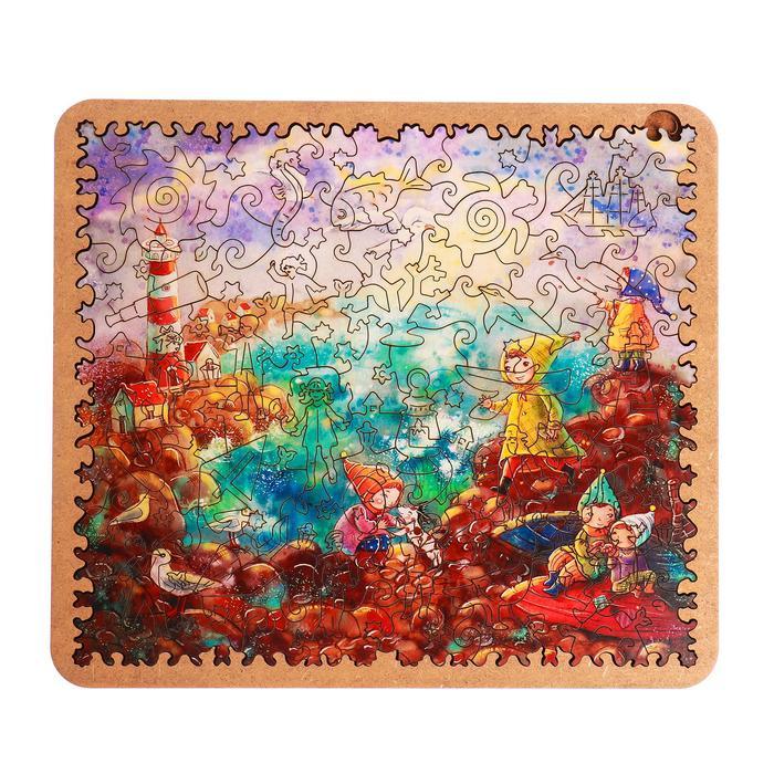Пазл - картина из дерева «Дети у маяка» 100 деталей