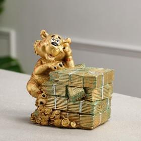 """Копилка """"Тигр с деньгами"""", символ года 2022, золотая, керамика, 16 см"""