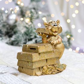 "Копилка ""Тигр со слитками"", символ года 2022, золотая, керамика, 16 см"