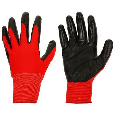 Перчатки нейлоновые с нитриловым покрытием ладони, размер XL (10), цвет красный/черный