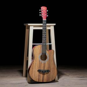 Гитара акустическая, цвет дерево, 97см, с вырезом