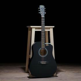 Гитара акустическая, цвет черный, 104см, с вырезом
