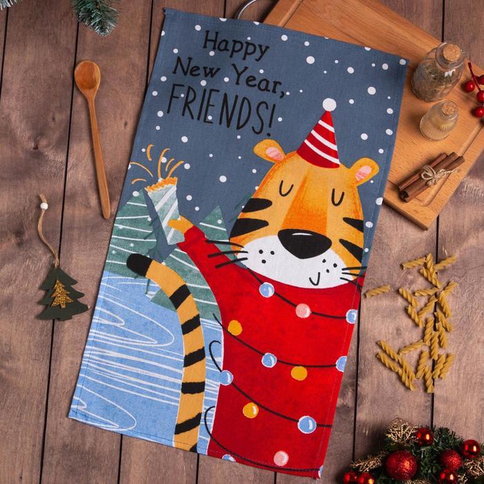 Полотенце Доляна «С Новым годом, друзья!» 35х60 см,100% хлопок 160 г/м2